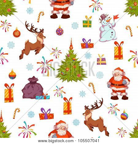 Christmas seamless pattern with Santa, pine, deer and other