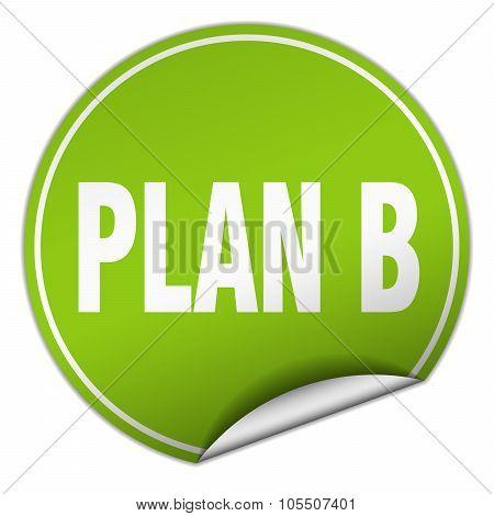 Plan B Round Green Sticker Isolated On White