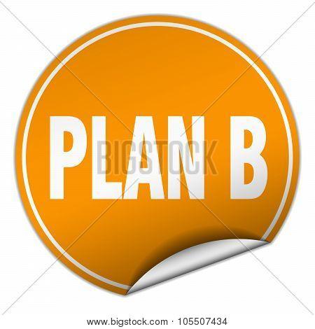Plan B Round Orange Sticker Isolated On White