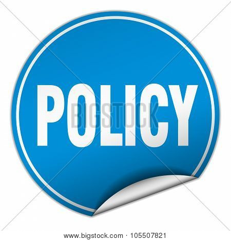 Policy Round Blue Sticker Isolated On White