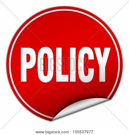 Policy Round Red Sticker Isolated On White