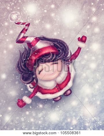 Illustration with little winter fairy girl