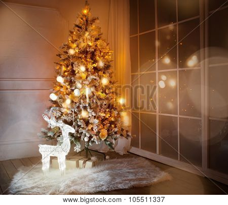 A lighted Christmas tree with presents underneath in living room