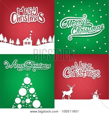 Four Christmas card collection for greeting card
