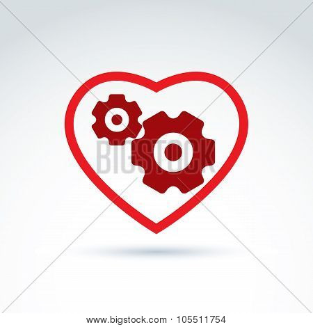 Gears And Cogs In Shape Of Heart System Theme Icon, Heart Of Machine, Business