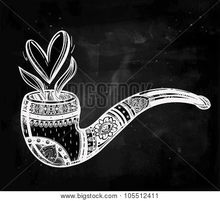 Tobacco pipe with a shaped smoke.