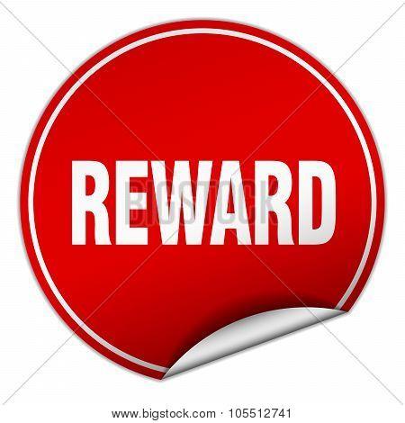 Reward Round Red Sticker Isolated On White