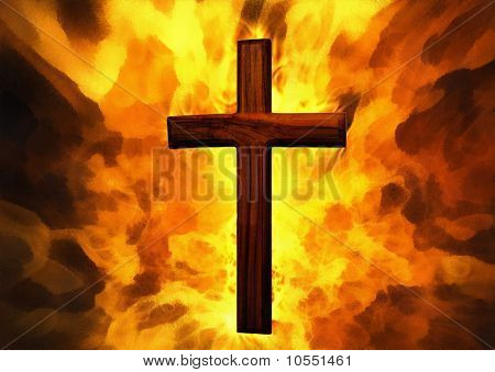 Flaming Cross Christian Art