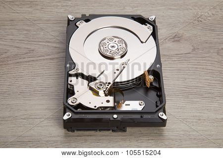 Open harddisk on wood desk.