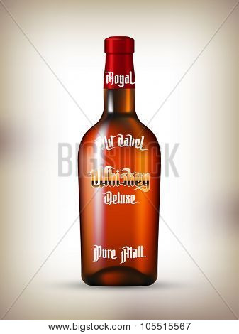 Whiskey Labels Set. Maaodern Gothic Style Font. Kinds of whiskey
