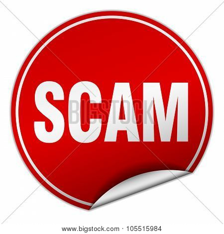 Scam Round Red Sticker Isolated On White