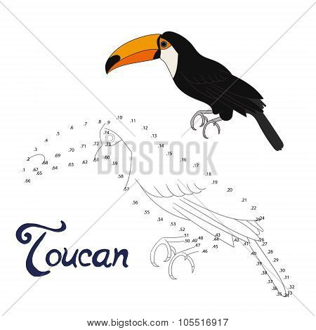 Educational game connect dots to draw toucan bird