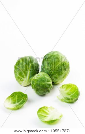 Brussles Sprouts Isolated On White.