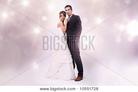 Glamour style studio wedding photo