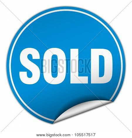 Sold Round Blue Sticker Isolated On White