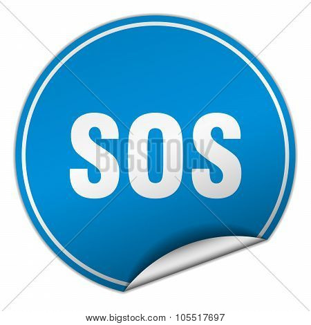 Sos Round Blue Sticker Isolated On White