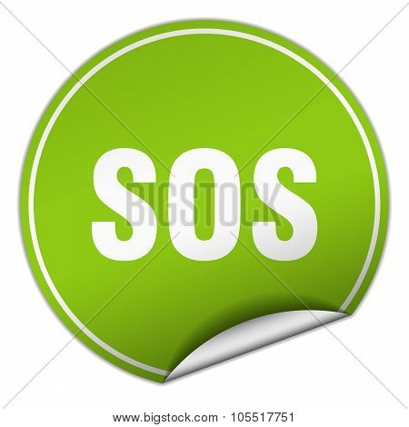 Sos Round Green Sticker Isolated On White