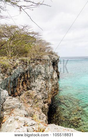 Rocky Cliffs On Curacao Coast