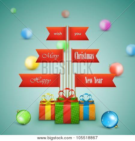 Paper Christmas tree vector illustration.