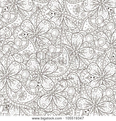 Abstract zentangle background with flowers and paisley.