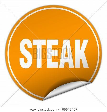 Steak Round Orange Sticker Isolated On White
