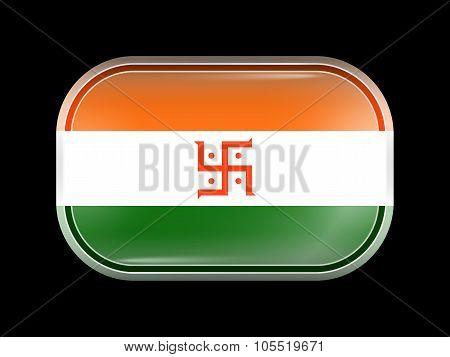 India Jain Variant Flag. Rectangular Shape With Rounded Corners