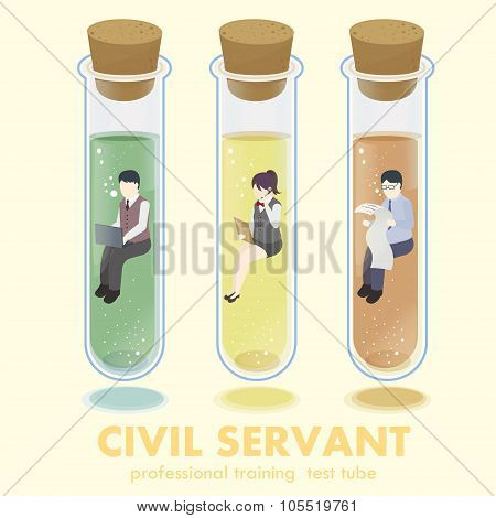 professional civil servant concept in flat 3d isometric graphic