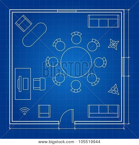 Office floor plan with linear vector symbols. Conference business outline furniture icons