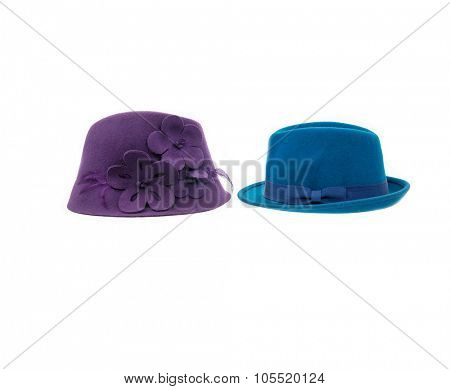 Two fedora hat isolated
