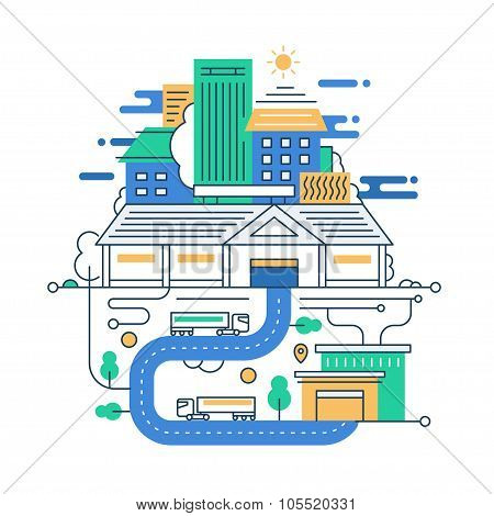 Illustration of modern line flat design city composition with buildings and cityscape infographics e