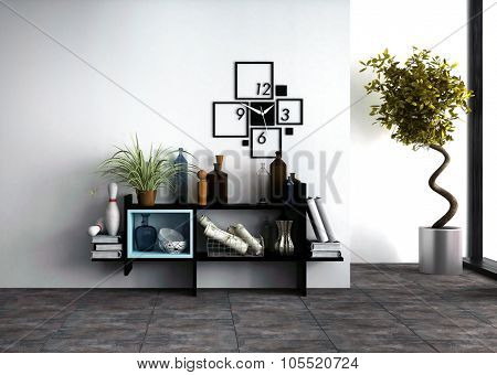 Wall-mounted shelves with personal effects and a designer clock in a modern living room interior with a potted spiral twist topiary tree side lit by daylight from a window. 3d Rendering.