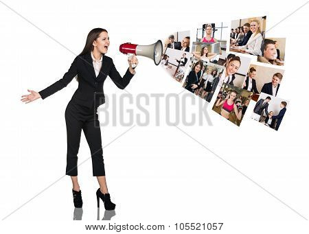 Young woman speak to megaphone