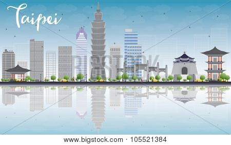Taipei skyline with grey landmarks, blue sky and reflection. Vector illustration. Business travel and tourism concept with place for text. Image for presentation, banner, placard and web site.