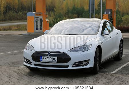White Tesla Model S Electric Car