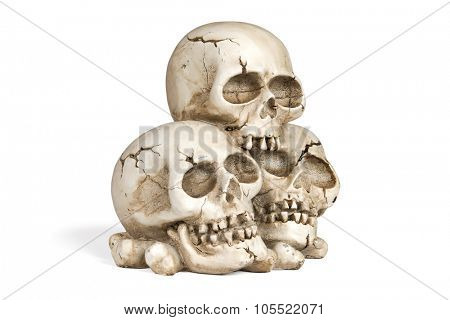 Cast of a weathered human skulls isolated over white with clipping path.