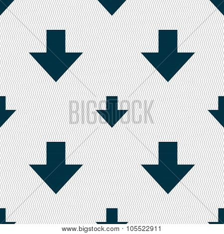 Download Sign. Downloading Flat Icon. Load Label. Seamless Abstract Background With Geometric