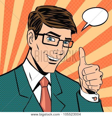 Successful businessman gives thumb up in vintage pop art comics style. Likes and positive feel