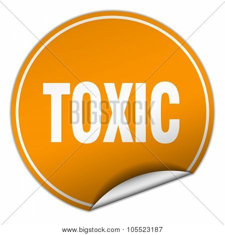 Toxic Round Orange Sticker Isolated On White