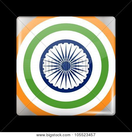 India Variant Flag. Glassy Icon Square Shape