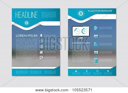 Flyer brochure template with blurred background