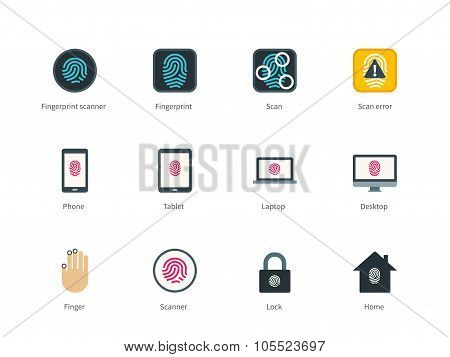 Fingerprint and devices color icons on white background.