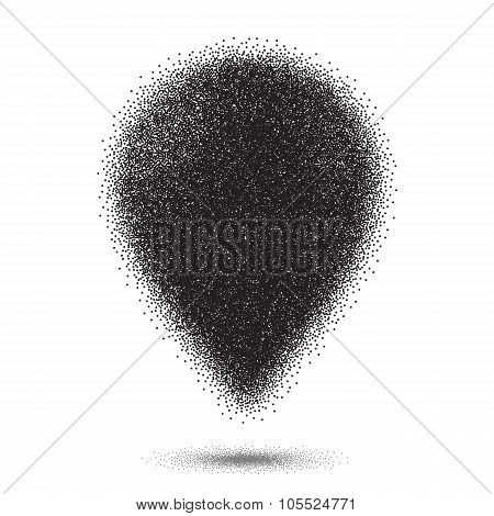 Dotwork Style Map Pointer. Halftone Map Pointer Vector Icon
