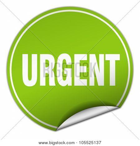 Urgent Round Green Sticker Isolated On White