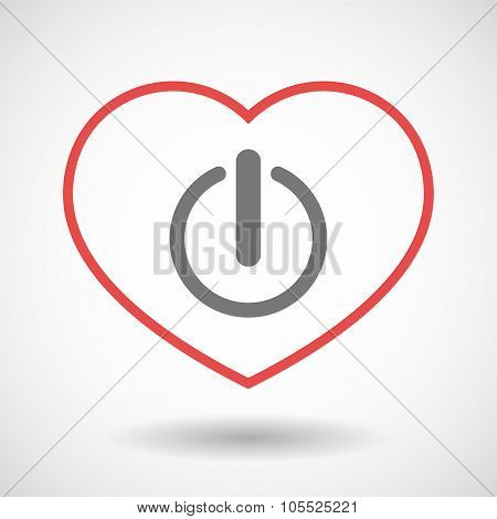 Line Heart Icon With An Off Button
