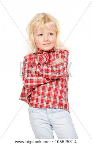 Pretty little three year old girl stands and thinking about something. Kid's concept, emotions. Isolated over white.