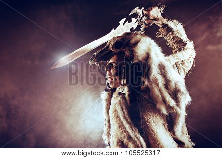 Ancient warrior Barbarian. Ethnic costume. Paganism, ritual.