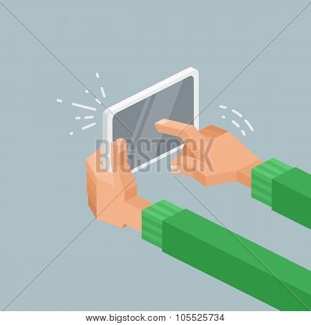 Isometric Vector Illustration Of Hands Holding A Tablet With Touchscreen, Swiping And Pointing.