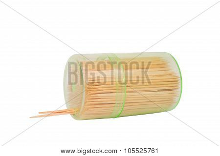 Toothpicks on isolated white background