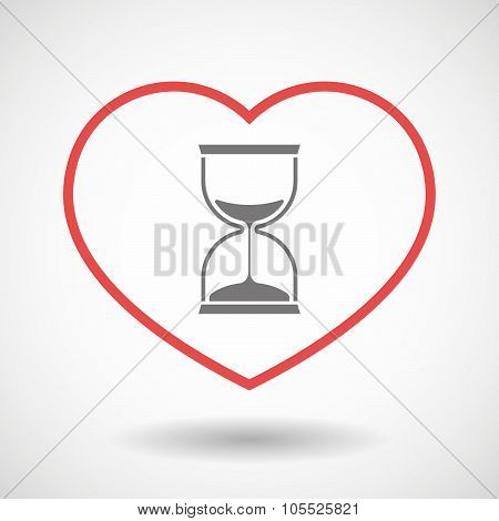Line Heart Icon With A Sand Clock
