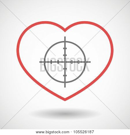 Line Heart Icon With A Crosshair